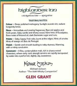 Michael Jackson's tasting notes